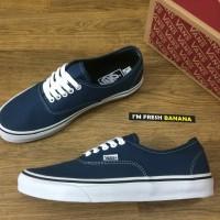 Sepatu Vans Authentic Classic Navy Blue White Hitam DT Premium