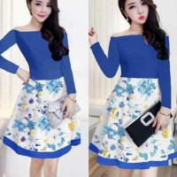Nikita Dress Blue / Dress Murah / Dress Terbaru / Grosir Baju Wanita