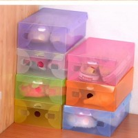 Jual box / kotak sepatu plastik transparan warna warni Harga murah Murah
