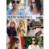 Jual SUNGLASSES ROUND STYLE ANTI UV BONUS POUCH + SUNGLASSES CLOTH Murah