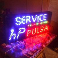 tulisan lampu led SIGN DISPLAY SERVIS HP PULSA - KONTER HANDPHONE TOP