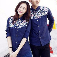 Kemeja / Hem Couple Baju Couple Flower Navy F2CO