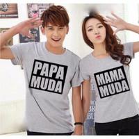 (Harga Sepasang) Kaos Couple Baju Couple Papa Mama Muda Bw Grey 1ZYL