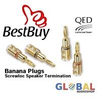 QED SCREWLOC 4mm Banana Plugs Speaker Termination - 2 Pair