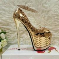 Jual Sepatu high heels/Sepatu pesta/Pump shoes Import # Gold Murah