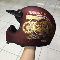 Helm Cakil Born to Ride Merah Maroon / Helm Cakil HBC / Helm Cakil SNI