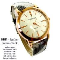 jam tangan wanita kulit brberry cream hitam full set