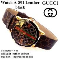 jam tangan wanita kulit guccii a-891 hitam full set
