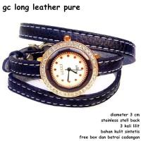 jam tangan wanita long pure leather full set hitam