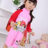 Baju Renang Anak + Topi - Angry Bird Pink