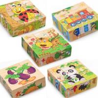 6 in 1 3D Jigsaw Puzzle Block ( mainan kayu )