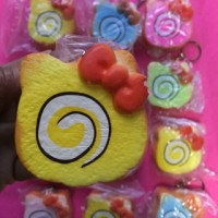 Squishy hello kitty cake rool/ gantungan kunci squishy/ mainan anak
