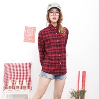 Kemeja Simple Santai Murah Kece Fiona Flanel Shirt Baju Wanita Remaja