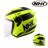 Helm NHK R6 Half Face X-807 Yellow Fluo Solid Kuning Flou X807 SE