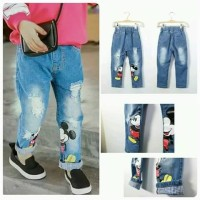 JEANS BELEL MICKEY MOUSE Baju Anak Import Branded Celana Ripped Sobek