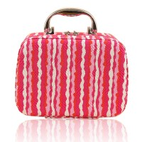 PU Leather Stripe Pattern Cosmetic Makeup Box Case Toil Limited
