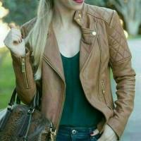 jaket semi kulit wanita gaya