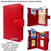 dompet hpo alexia lv kulit serat taiga 1 hp android 5,8 inc merah