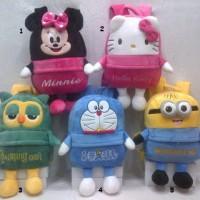 Tas Ransel Tangan boneka Minnie Mouse Hello Kitty Owl Doraemon Minions