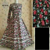 gamis katun jepang/rok renda/motif bunga/hijab flowy/baju muslim/dress