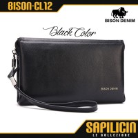 [black] Clutch Pria Kulit Sapi Asli Bison Denim Original (bison-cl12)