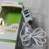 travel charger kabel langsung + dual usb samsung