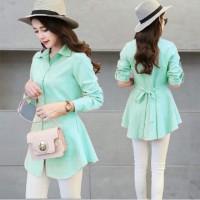 harga KEMEJA HIBI MINT/blouse/atasan panjang/long top/dress/gaun Tokopedia.com