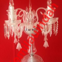LAMPU HIAS STANDING LILIN CHANDELIER PENDANT CRYSTAL BOHLAM FITTING WH