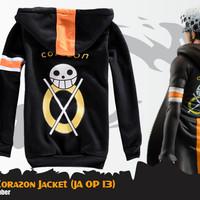 Jaket Anime One Piece Trafalgar Law Corazon Jacket Hoodie (JA OP 13)