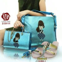 PROMO TAS VANESSA ROSE 5111 ORI SET 2 + SENDAL FASHION 885-1