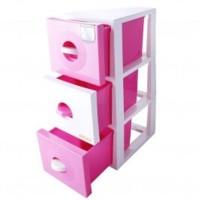 CLARIS Laci Susun, Pink - Duo Cabinet - 3 Susun