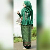 MISS BATIKA HIJAU set hijab gamis syari batik kebaya