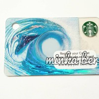 Summer Blue Wave - Mini Size with Keychain Hole Starbucks Card