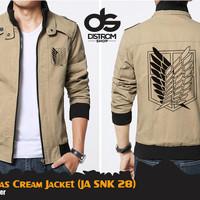 Jual SNK Canvas Cream Jacket (Jaket Attack On Titan JA SNK 28) Murah