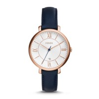 Fossil Ladies Jacqueline Navy Leather Watch- ES3843