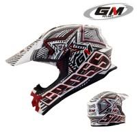 Helm GM Supercross Super Moto Full Face Cross Black Red Startic