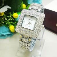 Jam Tangan Cewek Chopard Segi Diamond Rantai Silver Berkualitas