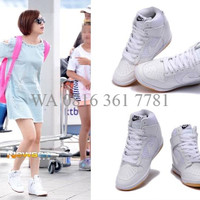 Sneaker Wedges Sepatu Wedgess Nike Dunk Sky High White Gold Kpop O4XD