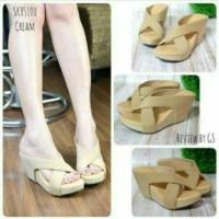 Sandal Wanita Wedges Silang Cream / Sandal Series Murah