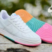sepatu sport casual running nike air force 1 low rainbow