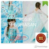 Jual Dress frozen elsa BONUS MAHKOTA DAN TONGKAT / gaun pesta anak /