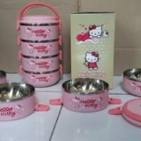 Jual Lunchbox Hello Kity Rantang / Kotak Makan imut StainlessSteel 4 Susun Murah