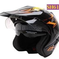 Helm Motor WTO Pro-Sight Cross Half Face Hitam Orange - SH612