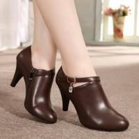 High Heel Sepatu Wanita Heels Boot Coklat
