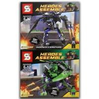 LEGO SY 248 AB Black Panther Mecha & Hulk Mecha 2 in 1