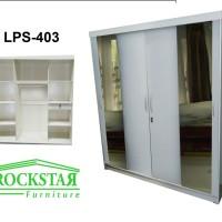 harga Lemari Pakaian HPL Sliding 4 Pintu Putih Glossy+kaca 2 Pintu LPS-403 Tokopedia.com