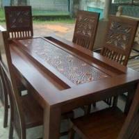 set kursi makan meja pasiran jati 6k