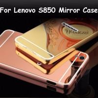 Metal Bumper Slide Mirror Kaca Slim Hard Cover Case Keren Lenovo S850