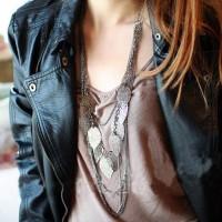 kalung daun bohemian / bohemian multi-leaf long necklace JKA030
