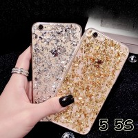 harga FOR IPHONE 5 5S - SOFT JELLY CASE SPARKLING FOIL GOLD AND SILVER Tokopedia.com